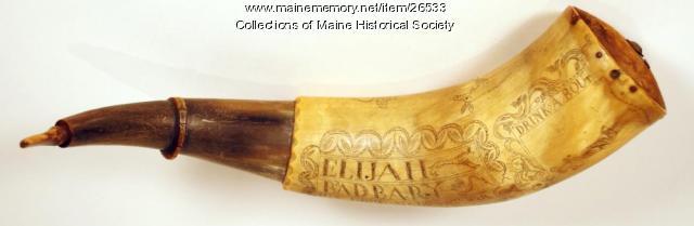 Elijah Bradbury powder horn, 1778
