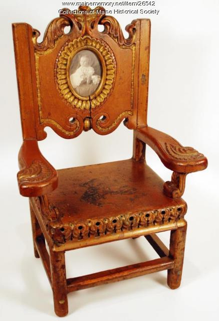 Child's chair with portrait, Portland, 1908