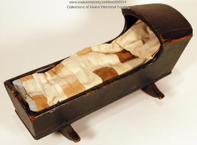 Toy cradle and bedding, ca. 1835