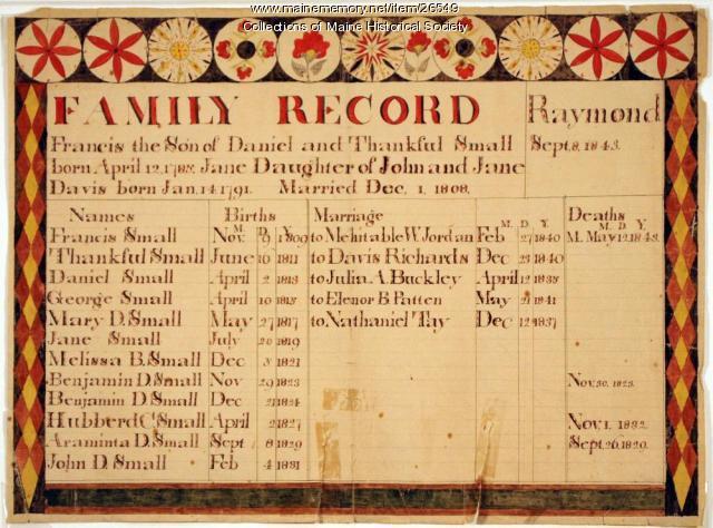 Small family record, Raymond, ca. 1840