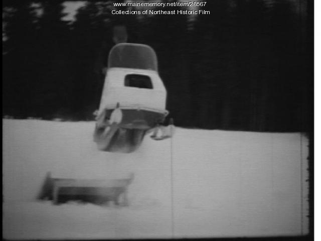 Snowmobiling in Maine, ca. 1970