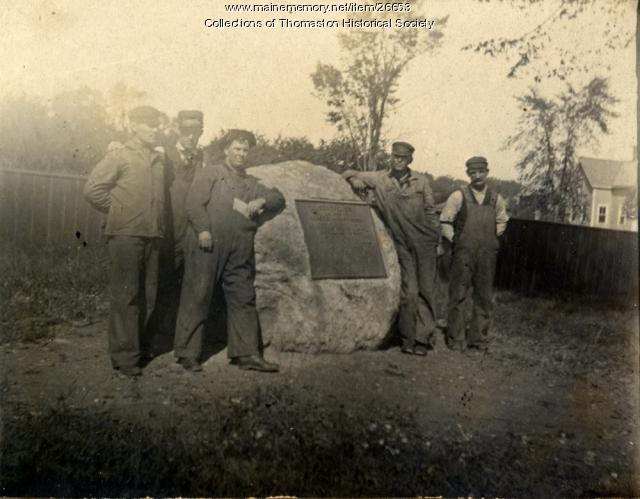 Railroad workers at memorial tablet, Thomaston, ca. 1914