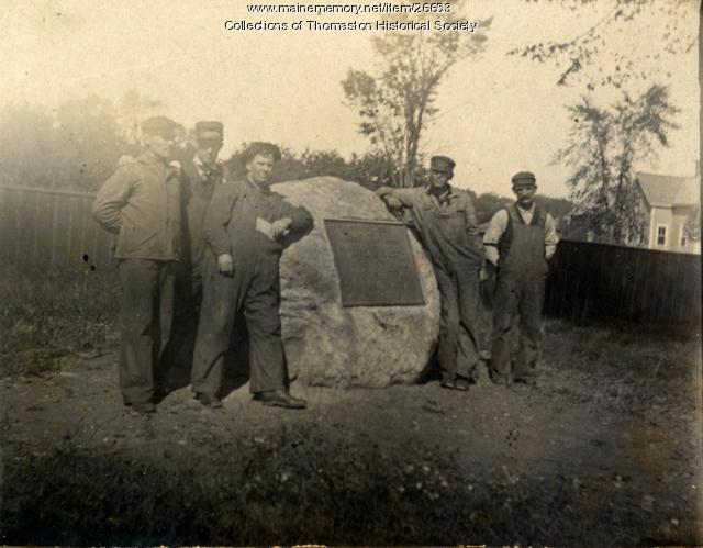 Railroad workers at memorial tablet, Thomaston, ca. 1914