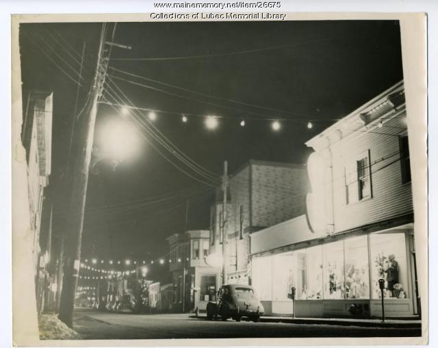 Christmas on Water Street, Lubec, ca. 1940