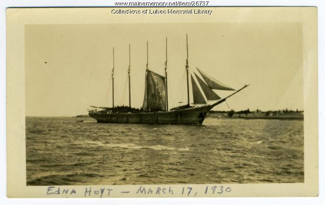 Edna Hoyt, Five-Masted Schooner, Lubec, 1930
