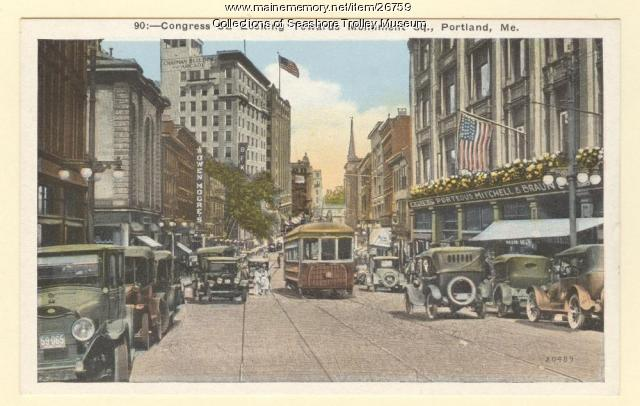 Congress St. Looking Towards Monument Square, Portland, ca. 1920