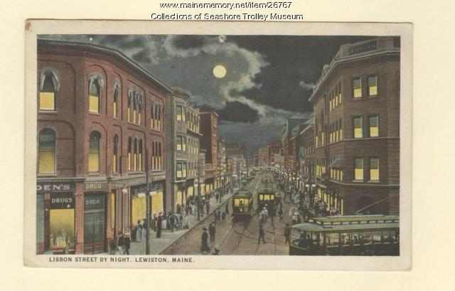 Lisbon Street by Night, Lewiston, ca. 1924