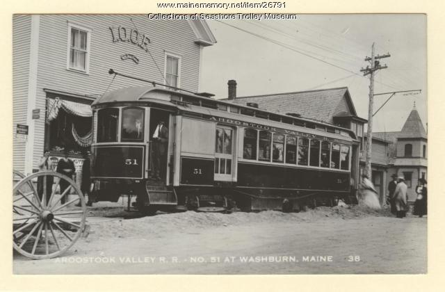 Aroostook Valley R.R. No. 51 at Washburn, ca. 1939