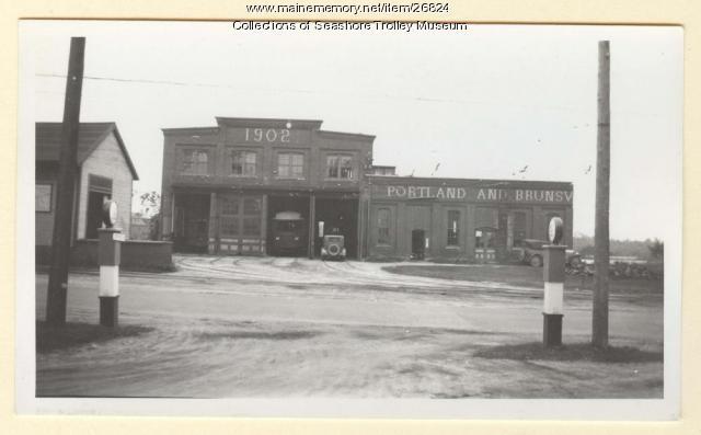 Portland & Yarmouth Street Railway carhouse, Portland, ca. 1920