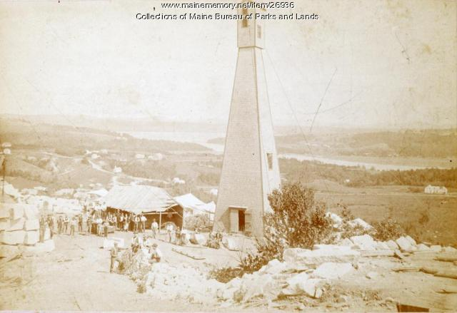 Tower and workers at Mount Waldo Quarry, ca. 1880