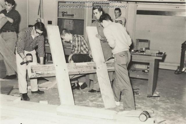 Christmas tree frame work, Presque Isle, 1959