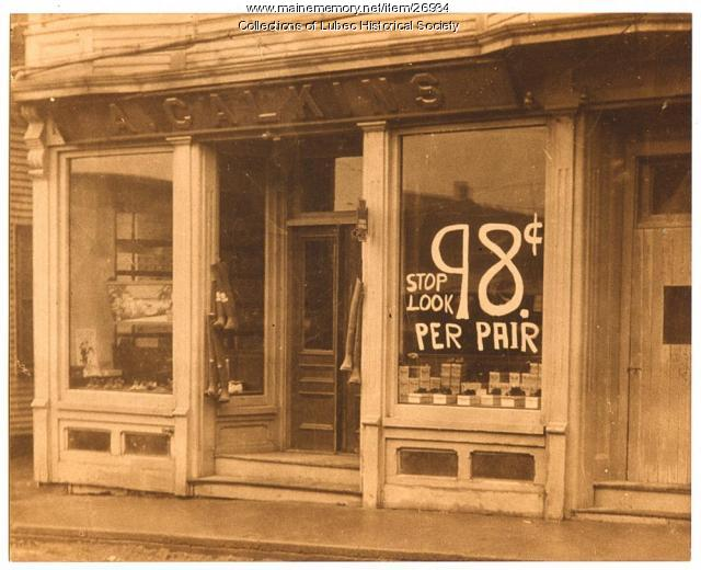 Calkins Shoe Store, Lubec, ca. 1920