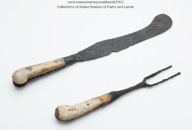 Bone handle iron table knife and fork, ca. 1729
