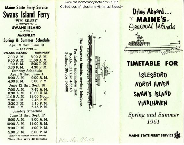 Ferry Schedule, Islesboro, 1961