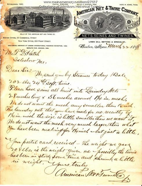 Business Letter, Islesboro, 1898