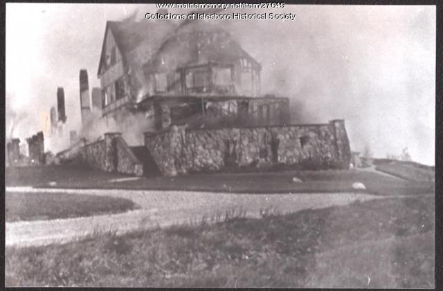 The Islesboro Inn Burning, 1915