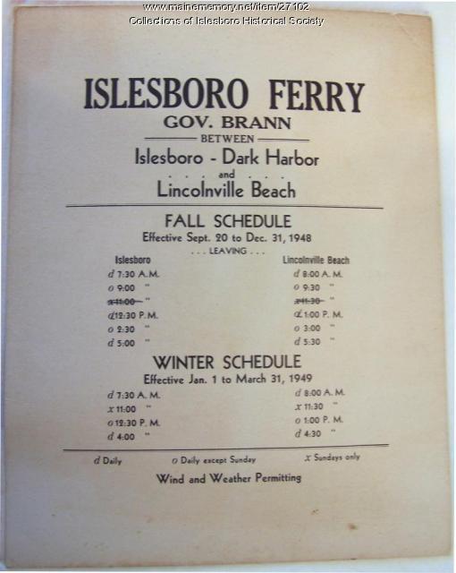 Ferry Schedule, Islesboro, 1948