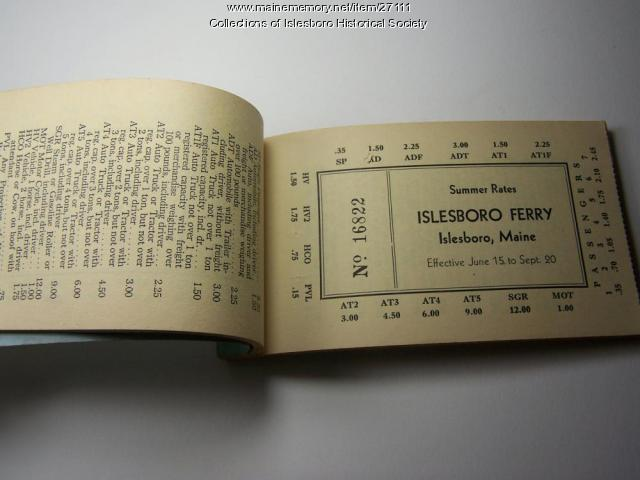 Ferry Ticket Book, Islesboro, ca. 1960
