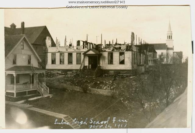 Burned high school, Lubec, 1913