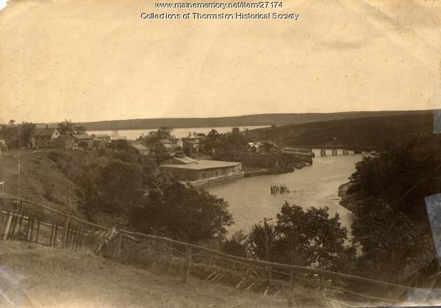 Looking southeast toward Wadsworth Street Bridge, Thomaston, ca. 1890