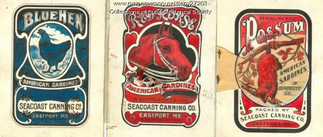 Sardine labels, Eastport, 1909
