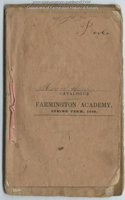 Farmington Academy Catalogue, 1838