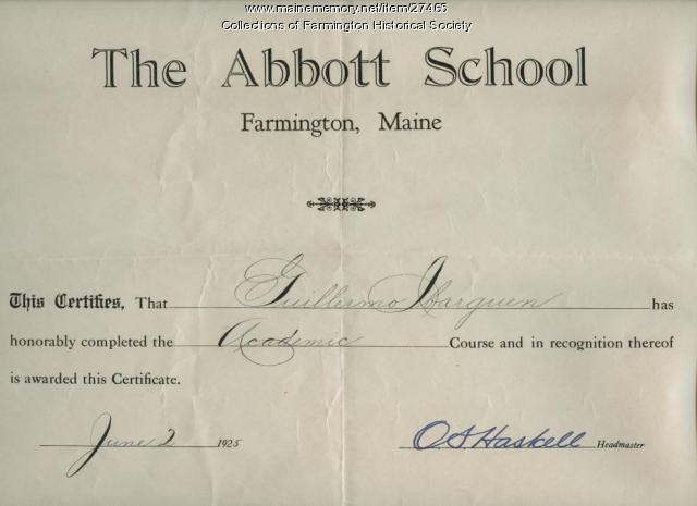 Abbott School Completion Certificate, 1925