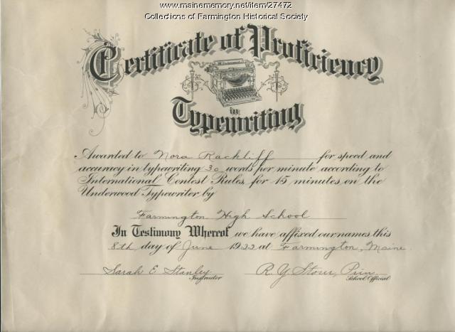 Nora Rackliff Typing Certificate, Farmington, 1922