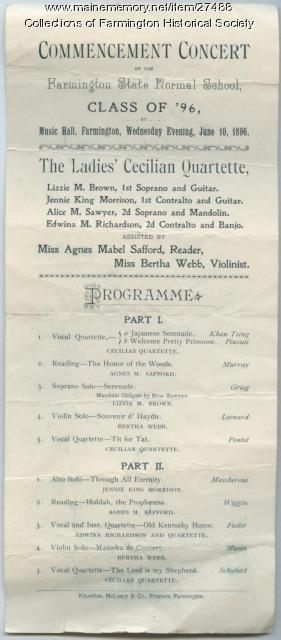 Farmington Normal School Commencement Concert Program, 1896