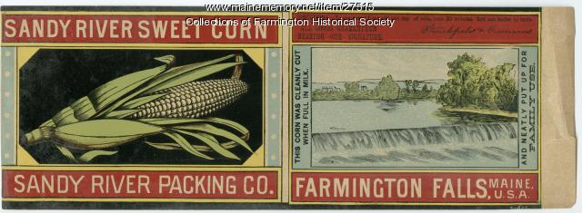 Corn Can Label, Farmington, circa 1885