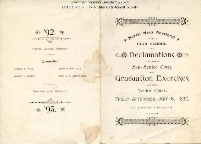 Graduation program, North New Portland High School, 1892