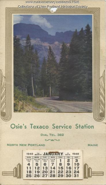 Osie's Texaco Service Station calendar for North New Portland, 1948