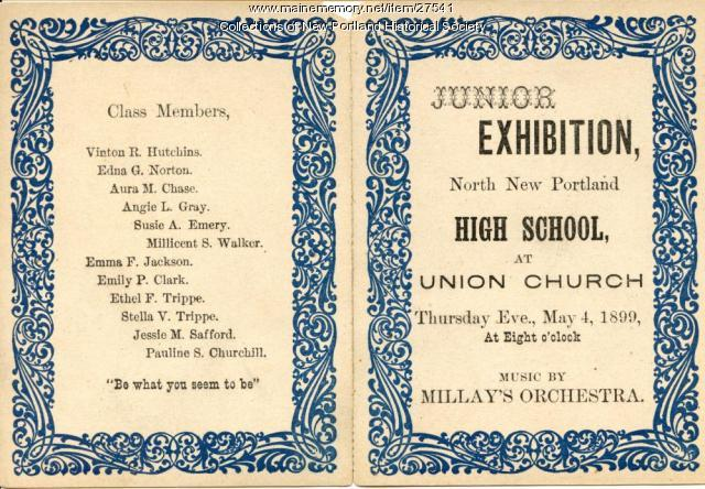 Junior Exhibition Program, North New Portland High School,1899