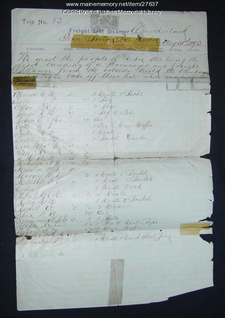 Freight List, Steamer Cumberland, Lubec, 1893