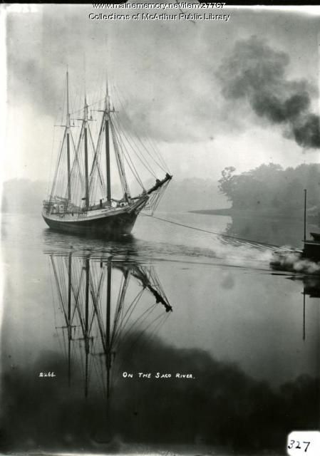3-masted schooner towed by tug boat in Saco River, ca. 1910