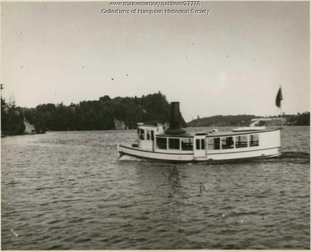 Steamship Gypsie, entering the Sowadabscook Stream, ca. 1895
