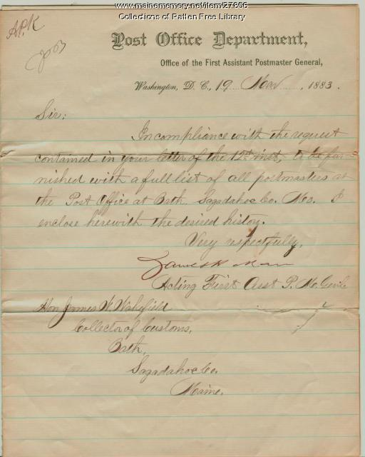 Letter to Bath Collector of Customs, 1883