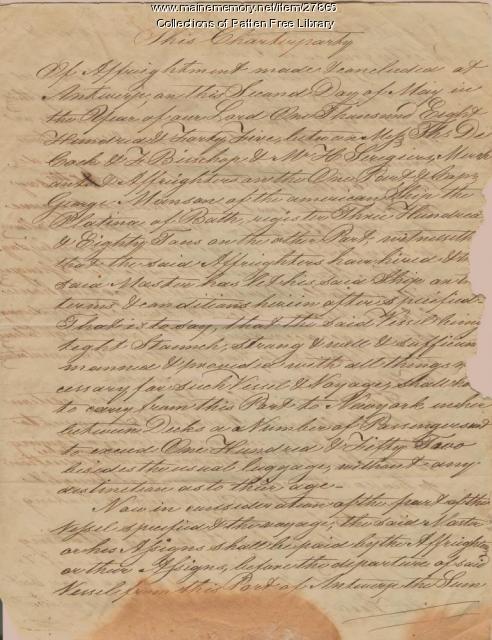 Charter Contract, Schooner Platina, 1845