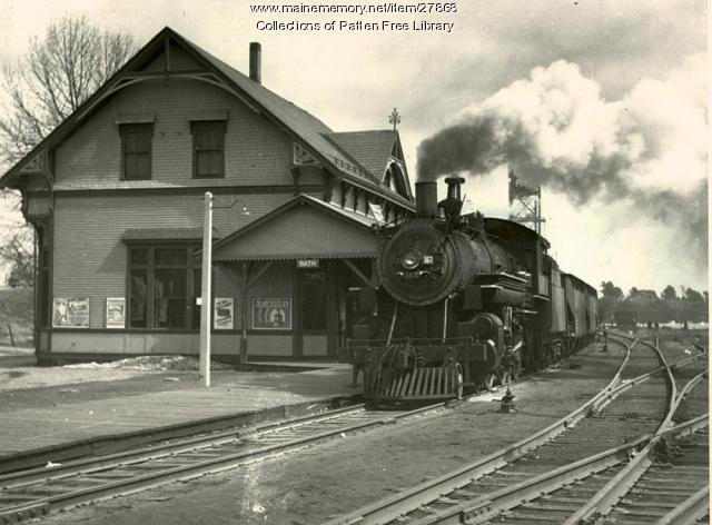MCRR Station and Locomotive, Bath, ca. 1938