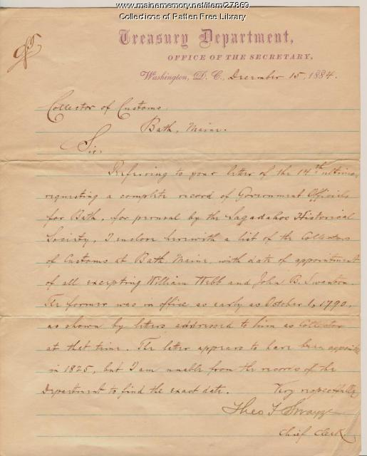 U.S. Treasury Department letter to the Bath Collector of Customs, 1884