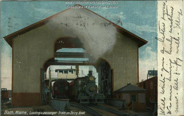 Loading Passenger Train on Ferry Boat, circa 1904