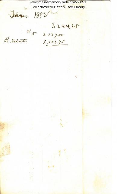 Oliver Moses Receipt for Taxes paid, Bath, 1882