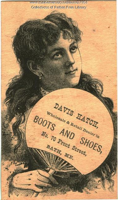 Davis Hatch trade card, Bath, ca. 1875