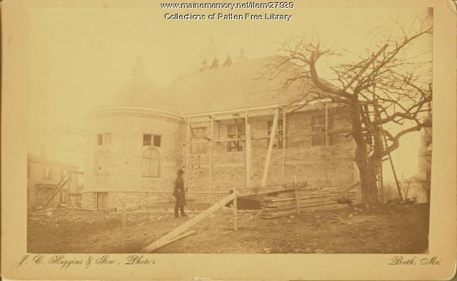 Patten Free Library construction, Bath, ca. 1889