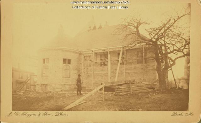 Patten Free Library construction, Bath, ca. 1889