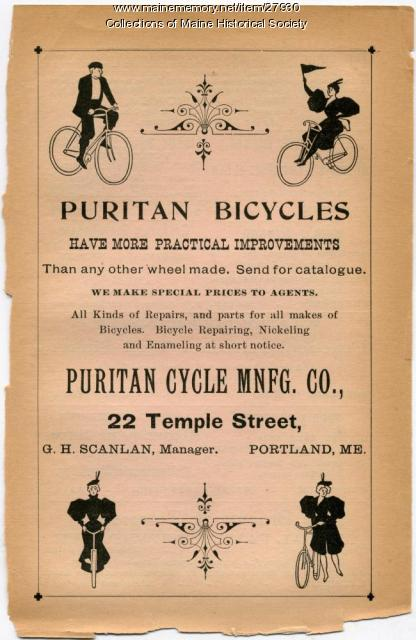 Puritan Bicycle ad, Portland, 1897