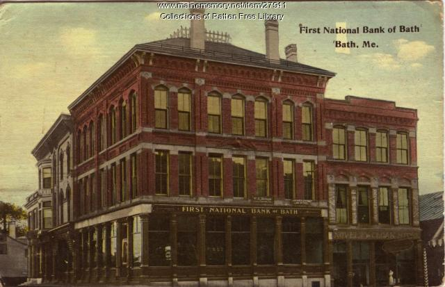 First National Bank of Bath postcard, ca. 1913