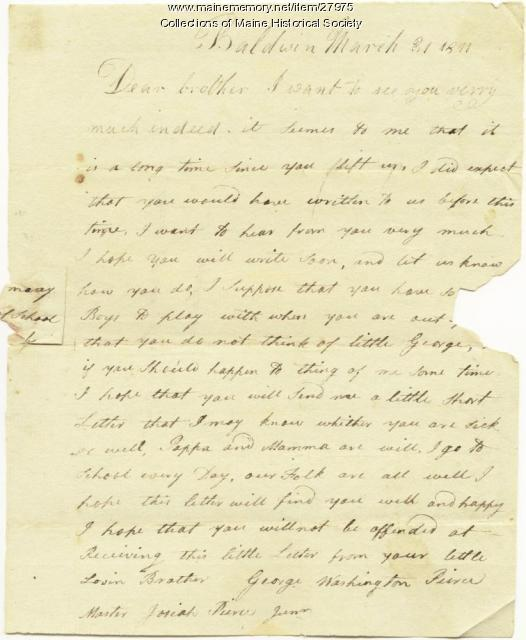 George Pierce letter to brother, Baldwin, 1811