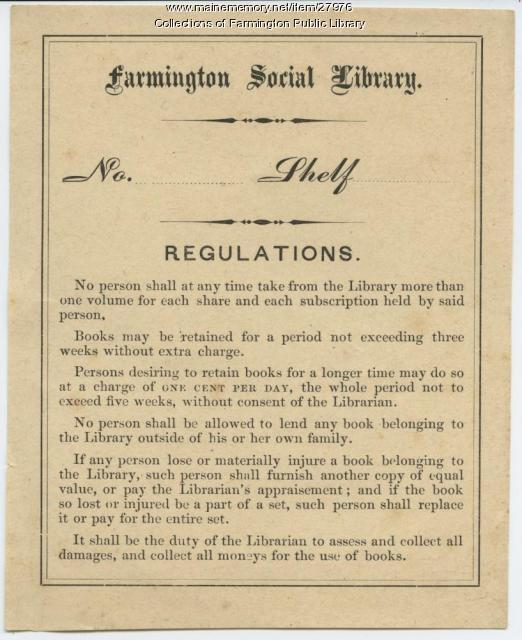 Farmington Social Library, Regulations, ca. 1900