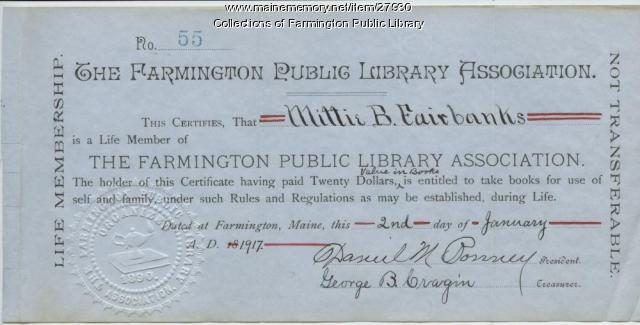 Life membership certificate, Farmington Public Library Association, 1917